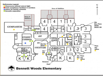 Black and white drawing of layout of Bennett Woods Elementary School, showing the proposed expansion of 4 classrooms and 1 multipurpose room
