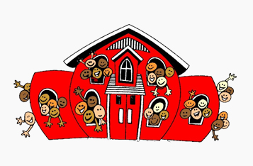 red schoolhouse drawing with children characters bursting out of the windows and doors