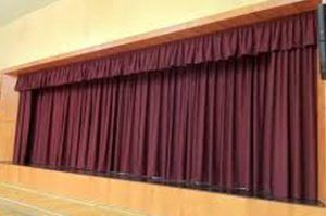 maroon auditorium curtain, closed