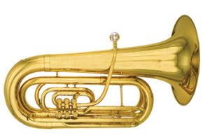 tuba on its side, white background